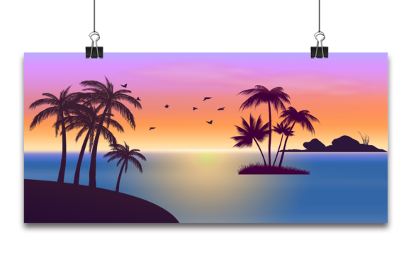 Vector Tropical Beautiful Sunset, Graphic Backgrounds By Ju Design