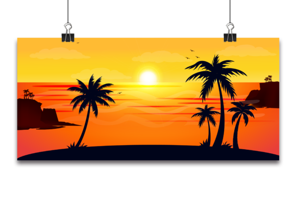Vector Tropical Beautiful Sunset, Gráfico Fondos Por Ju Design