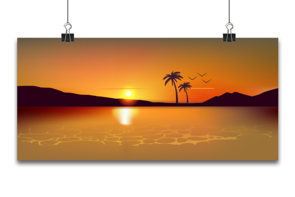 Vector Tropical Beautiful Sunset, Grafik Hintegründe von Ju Design