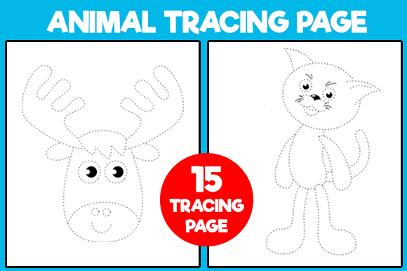 Print on Demand: 15 Animal Tracing Page for Kids Graphic KDP Interiors By Fox Design Studio
