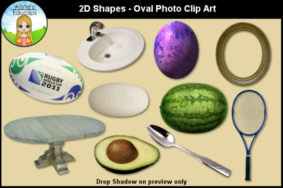 Print on Demand: 2D Shapes - Oval Photo Clip Art Graphic Teaching Materials By Aisne Educlips