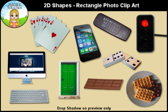 Print on Demand: 2D Shapes - Rectangle Photo Clip Art Graphic Teaching Materials By Aisne Educlips