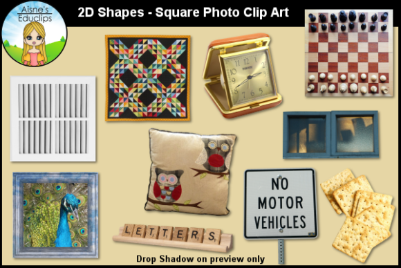 Print on Demand: 2D Shapes - Square Photo Clip Art Graphic Teaching Materials By Aisne Educlips