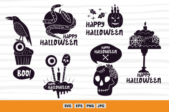 6 Halloween Craft Designs  Graphic Illustrations By FindsArtDesign
