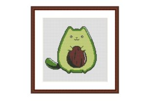 Print on Demand: Avocato Cat Funny Cross Stitch Pattern Graphic Cross Stitch Patterns By Tango Stitch