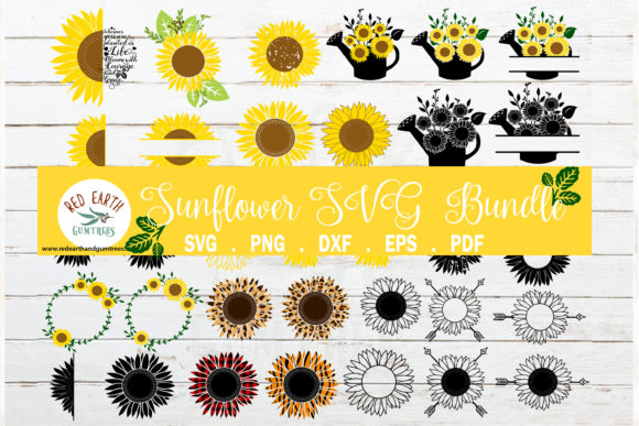 BIG Sunflower Monogram Frames Bundle Graphic Crafts By redearth and gumtrees
