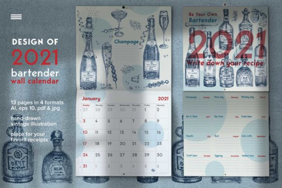Print on Demand: Bartender Wall Calendar. 2021 Graphic Print Templates By z.zajka