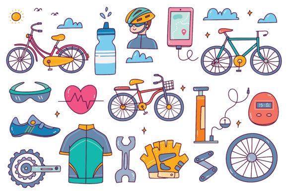 Bicycle Equipment Doodle Set Vector Graphic Illustrations By Big Barn Doodles