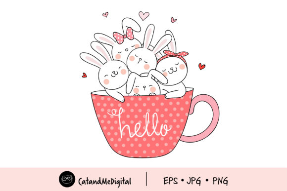 Clip Art Cute Rabbit in Cup of Coffee Graphic Illustrations By CatAndMe