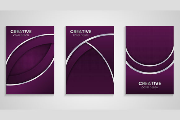 Cover Design with Purple Overlap Layers Graphic Backgrounds By medelwardi