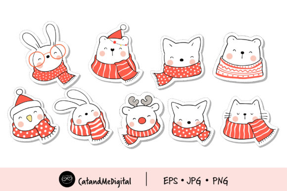 Doodle Sticker Cute Animal for Christmas Graphic Illustrations By CatAndMe