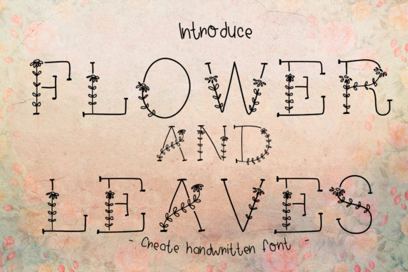 Print on Demand: Flower and Leaves Decorative Font By ChunnapaStudio