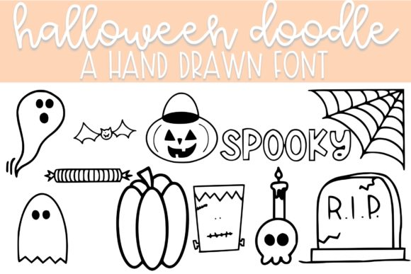 Print on Demand: Halloween Doodle Dingbats Font By Fairways and Chalkboards