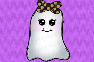 Print on Demand: Halloween Ghost with Orange Bow Graphic Illustrations By SusanTurpinDesign