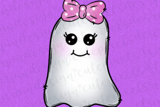Print on Demand: Halloween Ghost with Pink Polka Dot Bow Graphic Illustrations By SusanTurpinDesign