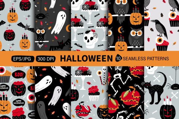 Print on Demand: Halloween Seamless Pattern Graphic Patterns By FindsArtDesign
