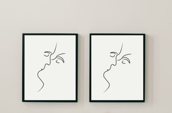 Print on Demand: Kissing Line Wall Art | Minimalistic Graphic Illustrations By Maumo Designs