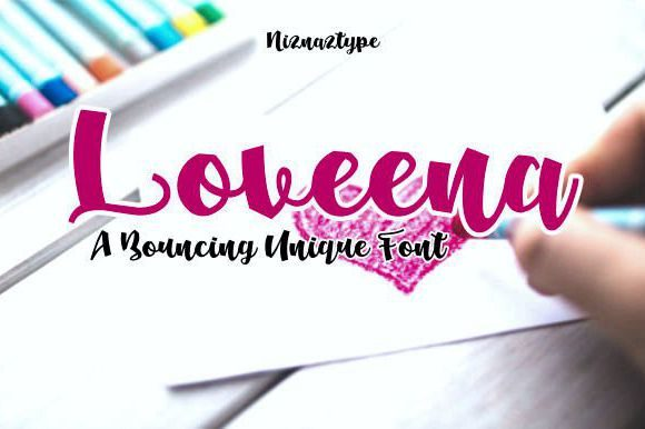 Print on Demand: Loveena Script & Handwritten Font By emnazar2009