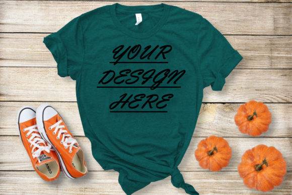 Mockups Green T-shirt, Bella Canvas Graphic Product Mockups By ArtStudio