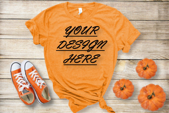 Mockups Orange T-shirts, Flat Lay Graphic Product Mockups By ArtStudio - Image 1