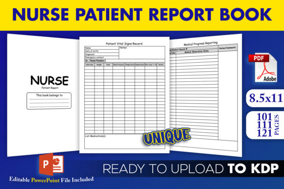 Print on Demand: Nurse Patient Report Book | KDP Interior Graphic KDP Interiors By Beast Designer