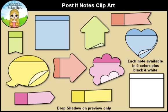 Print on Demand: Post It Notes Clip Art Graphic Objects By Aisne Educlips