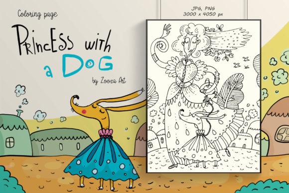 Print on Demand: Princess with a Dog - Coloring Page Graphic Coloring Pages & Books Kids By Zooza Art