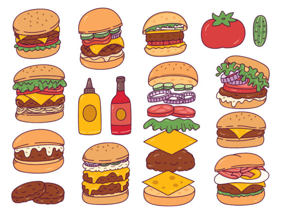Set of Burger Doodles Isolated on White Graphic Illustrations By Big Barn Doodles