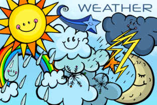 Print on Demand: Sky Weather Summer Winter Cloudy Clipart Graphic Illustrations By Prawny