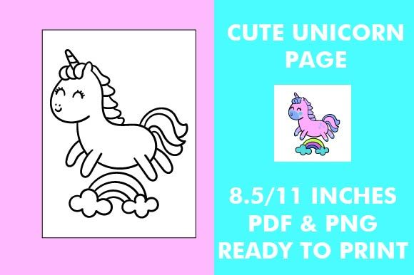 Print on Demand: Unicorn Coloring Page - Kawaii Unicorn Graphic Coloring Pages & Books Kids By Mah Moud