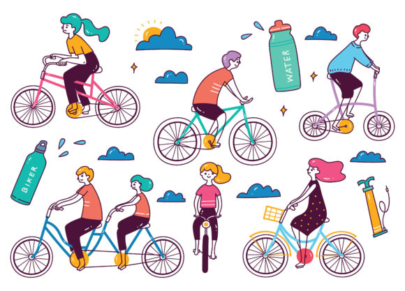 Set of People Riding Bicycle Graphic Illustrations By Big Barn Doodles