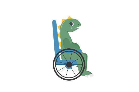 Dinosaur in Wheelchair Dinosaurs Craft Cut File By Creative Fabrica Crafts