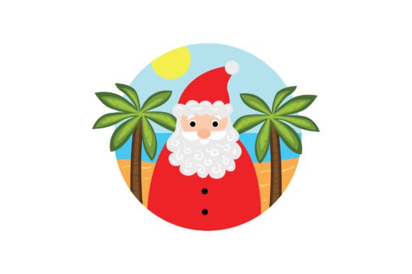 Santa on the Beach Christmas Craft Cut File By Creative Fabrica Crafts