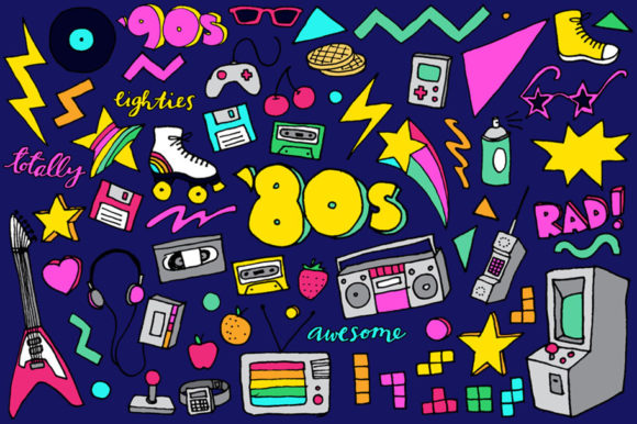 80s Clipart Hand Drawn Illustrations Graphic Illustrations By LemonadePixel