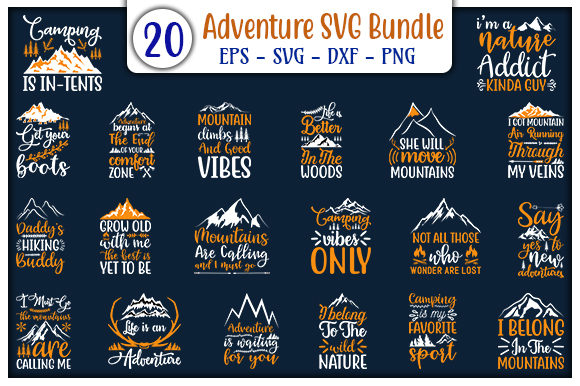 Print on Demand: Adventure Quotes Design Bundle Graphic Print Templates By GraphicsBooth