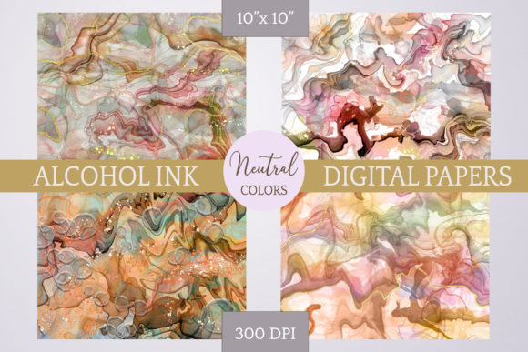 Print on Demand: Alcohol Ink Foil Textures - Neutral Graphic Backgrounds By Digital Town