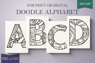Print on Demand: Alphabet Doodle Letters (Capital a-Z) Graphic Illustrations By Digital Town