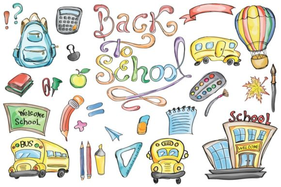Back to School Set Clipart & Vector Graphic Objects By EvgeniiasArt