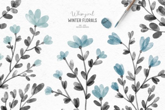 Print on Demand: Blue Watercolor Floral Clipart Graphic Illustrations By Wallifyer