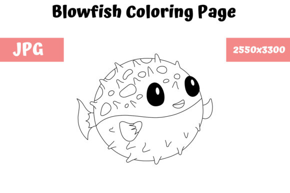 Print on Demand: Coloring Page for Kids - Blowfish Graphic Coloring Pages & Books Kids By MyBeautifulFiles