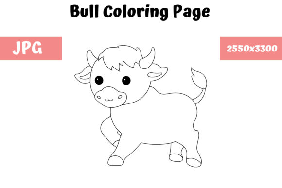 Print on Demand: Coloring Page for Kids - Bull Graphic Coloring Pages & Books Kids By MyBeautifulFiles