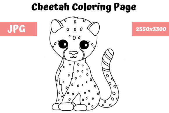 Print on Demand: Coloring Page for Kids - Cheetah Graphic Coloring Pages & Books Kids By MyBeautifulFiles