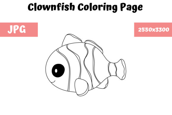 Print on Demand: Coloring Page for Kids - Clownfish Graphic Coloring Pages & Books Kids By MyBeautifulFiles