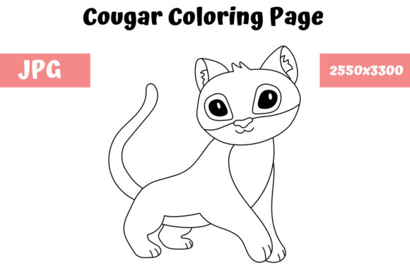 Print on Demand: Coloring Page for Kids - Cougar Graphic Coloring Pages & Books Kids By MyBeautifulFiles