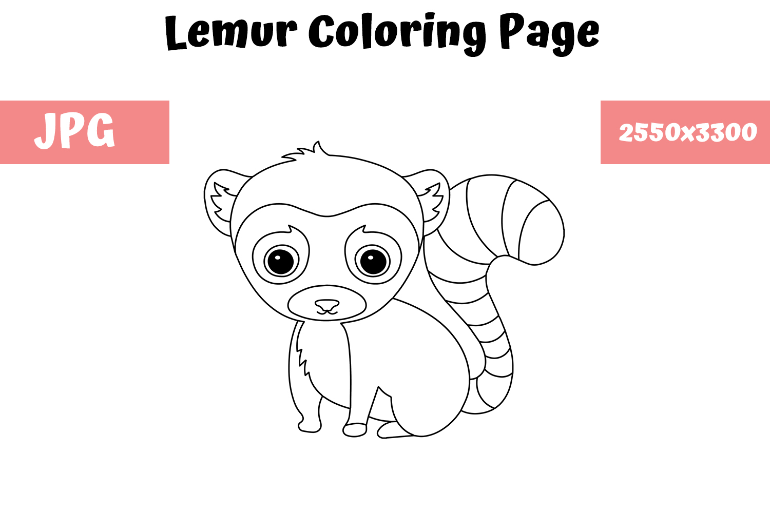 Coloring Page For Kids Lemur Graphic By Mybeautifulfiles Creative Fabrica
