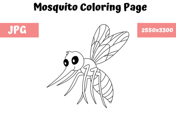 Print on Demand: Coloring Page for Kids - Mosquito Graphic Coloring Pages & Books Kids By MyBeautifulFiles