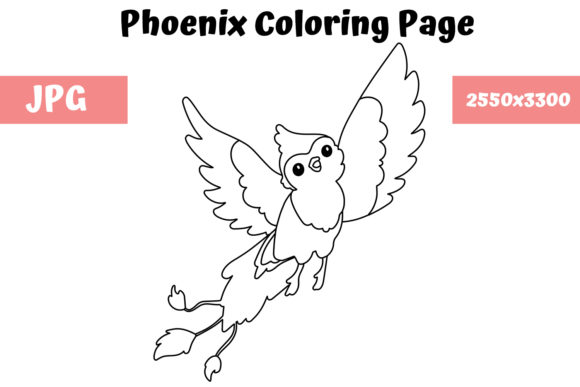 Print on Demand: Coloring Page for Kids - Phoenix Graphic Coloring Pages & Books Kids By MyBeautifulFiles