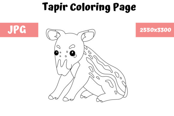 Print on Demand: Coloring Page for Kids - Tapir Graphic Coloring Pages & Books Kids By MyBeautifulFiles