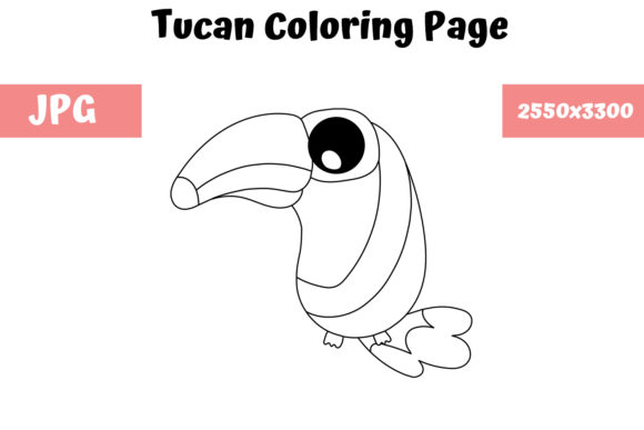 Print on Demand: Coloring Page for Kids - Tucan Graphic Coloring Pages & Books Kids By MyBeautifulFiles