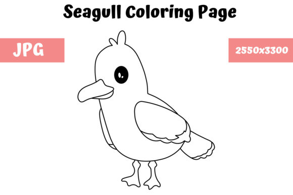 Print on Demand: Coloring Page for Kids - Seagull Graphic Coloring Pages & Books Kids By MyBeautifulFiles